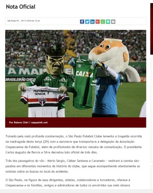 Nota oficial São Paulo Chapecoense  (Foto: reprodução)