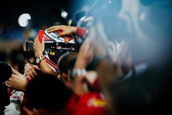 Kimi Raikkonen após o segundo lugar no GP do Bahrein (Foto: Reprodução/Facebook)