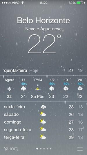 Iphone registrava neve em Belo Horizonte (Foto: Reproduçao)