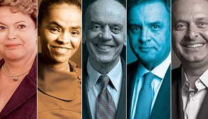 Dilma Rousseff, Marina Silva, José Serra, Aécio Neves e Eduardo Campos (Foto:  )