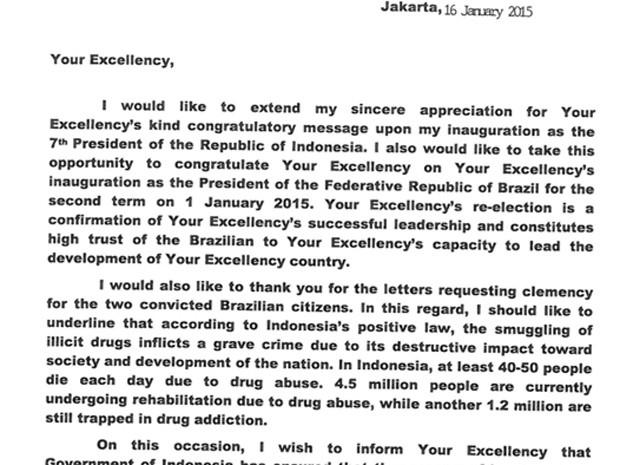 Imagem da carta enviada pelo presidente da Indonésia a Dilma Rousseff (Foto: Reprodução)