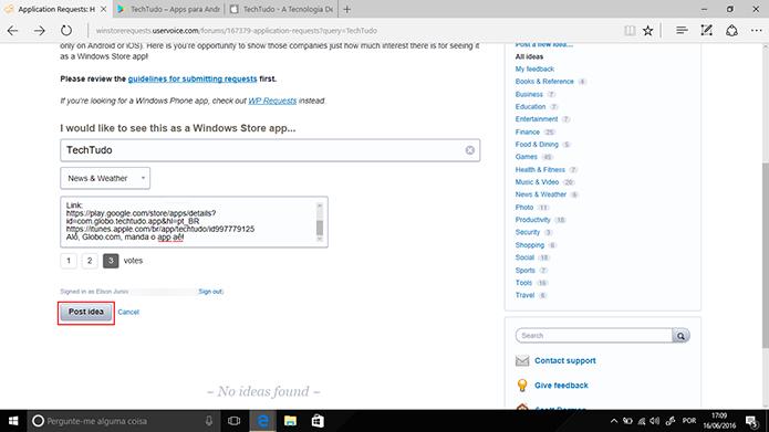 Usuário pode determinar número de votos em app solicitado para Windows 10 antes de postar (Foto: Reprodução/Elson de Souza)