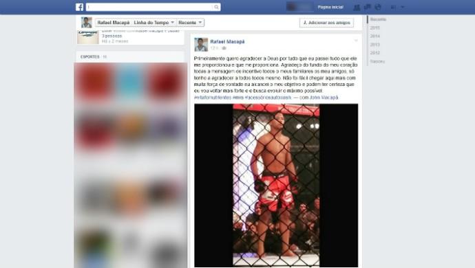 Rafael Macapá agradeceu aos fãs pelo Facebook (Foto: Reprodução/Facebook)