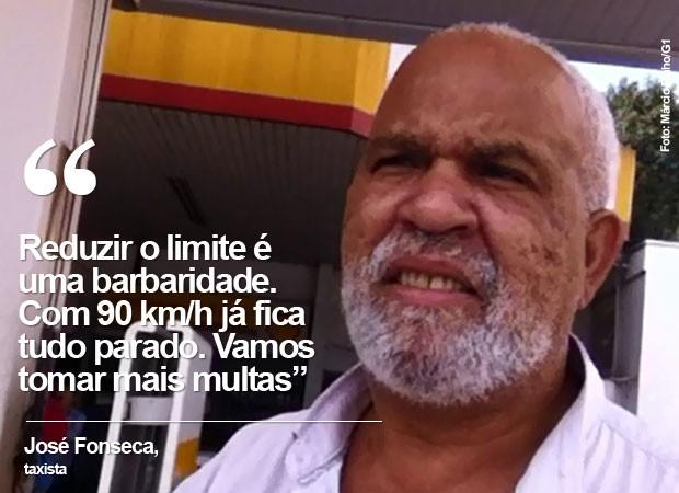 O taxista José Fonseca, contrário à redução dos limites nas marginais (Foto: Márcio Pinho/G1)