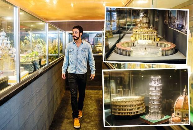No sítio, o  Museu Ronaldo J. Ribeiro expõe centenas de maquetes de construções famosas do mundo todo, entre elas o Vaticano, o Coliseu e a Torre de Pisa (Foto: Fabio Cordeiro / Ed. Globo)