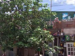 Fachada da casa de Manoel Barbosa, no bairro da Ribeira, em Salvador (Foto: Imagens/ Tv Bahia)