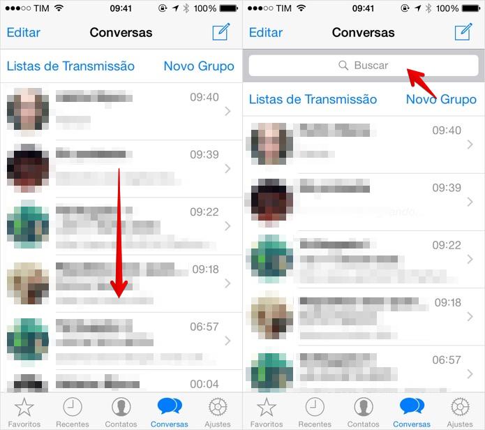 Acessando a busca do WhatsApp para iOS (Foto: Reprodução/Helito Bijora)  (Foto: Acessando a busca do WhatsApp para iOS (Foto: Reprodução/Helito Bijora) )
