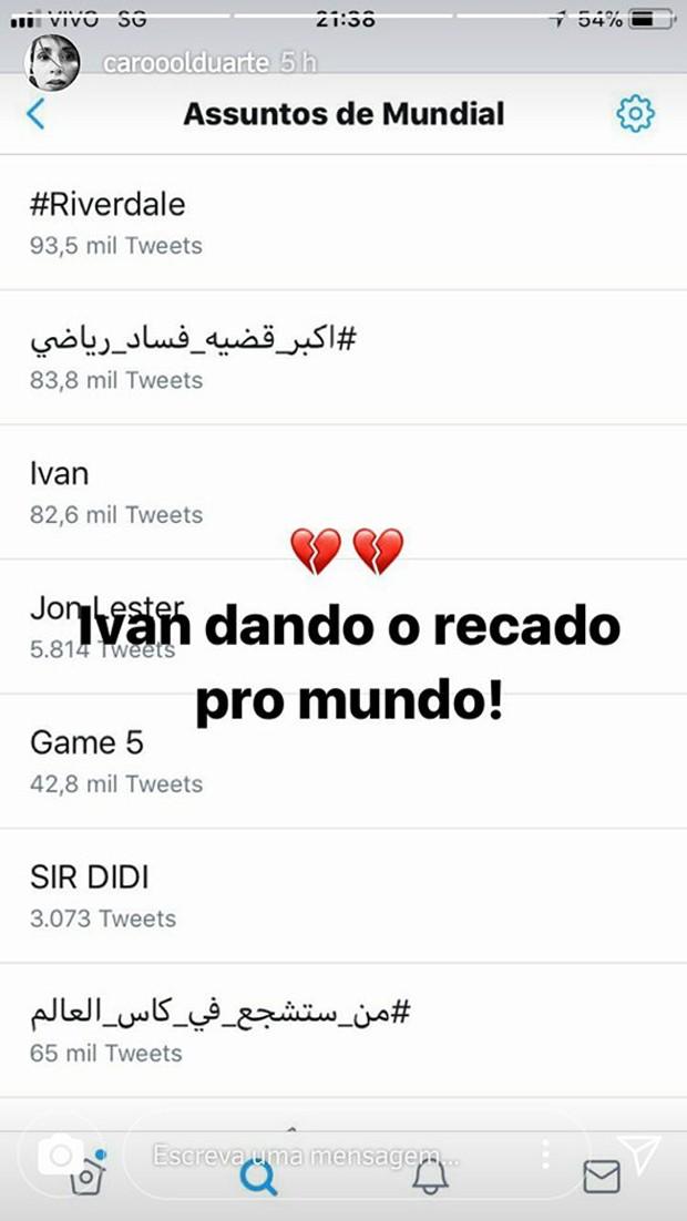 Carol Duarte fala sobre repercussão de agressão de Ivan (Foto: Reprodução/Instagram)