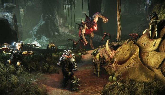 Cace ameaçadoras feras alienígenas ou seja um poderoso monstros em Evolve (Foto: Divulgação/Turtle Rock Studios)