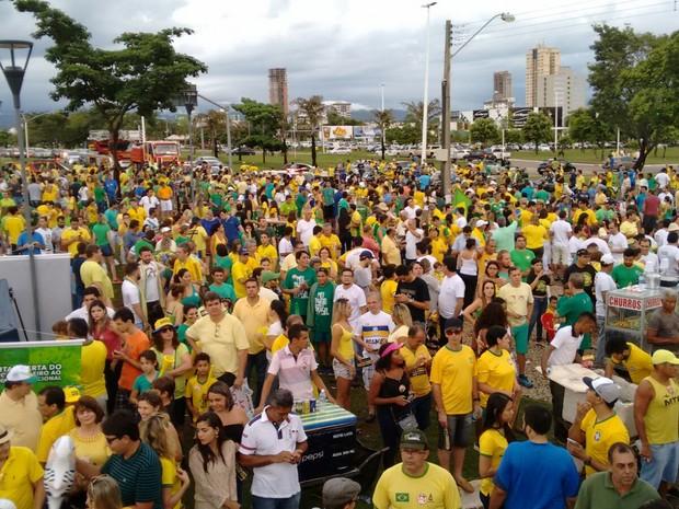 Manifestantes se reúnem na Praça dos Girassóis, no centro de Palmas, para ato contra a corrupção (Foto: Gabriela Lago/G1)