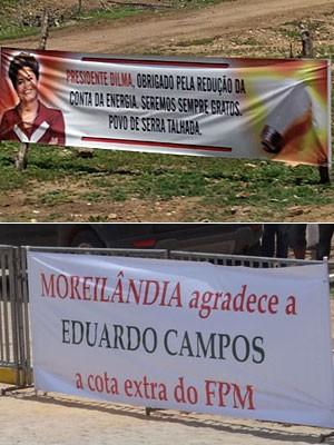 Faixas em apoio a Dilma Rousseff e Eduardo Campos, no Sertão de Pernambuco (Foto: Renan Holanda / G1)