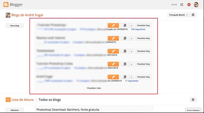 Escolha o blog que deseja excluir (Foto: Reprodução/André Sugai)