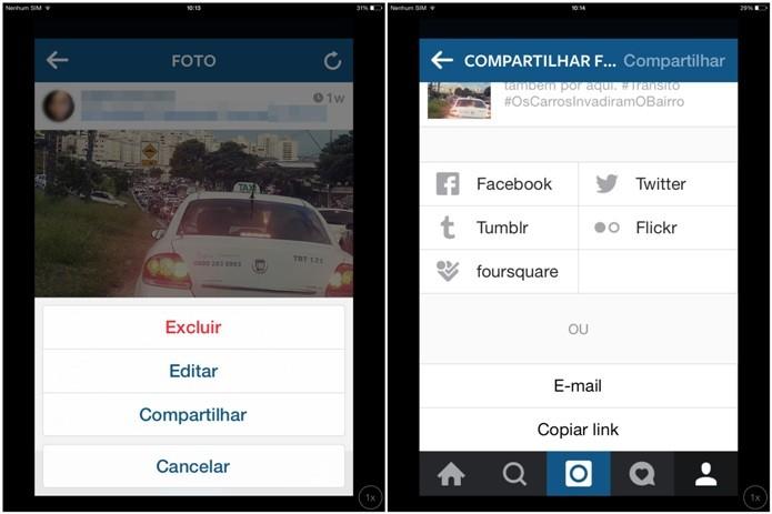 Compartilhando uma foto do Instagram em outras redes sociais (Foto: Reprodução/Lívia Dâmaso)
