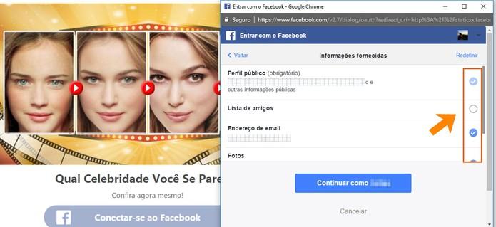 Compartilhamento de dados do Facebook ao logar com teste online (Foto: Reprodução/Barbara Mannara)