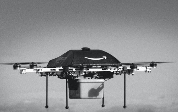 no futuro, a amazon pretende trocar os caminhões por drones, como este,  Para fazer pequenas entregas (Foto: Divulgação)