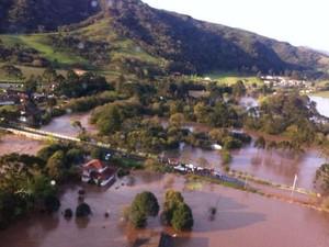 Bom Retiro foi uma das cidades mais atingidas pela chuva (Foto: Batalhão de Operações Aéreas/Divulgação)