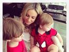 Claudia Leitte registra chamego com os filhos: 'Eu e eles no set'