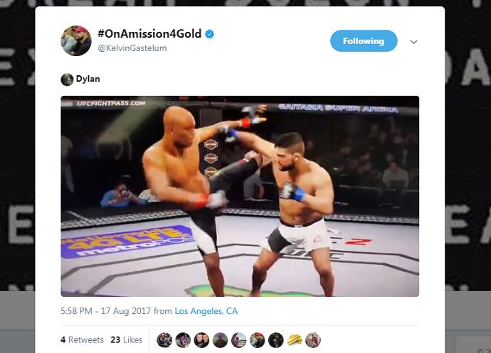 BLOG: Gastelum provoca Anderson Silva e posta nocaute no game oficial do UFC