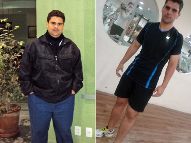 Victor teve que mudar seu estilo de vida após descobrir que estava com problemas de saúde; fotos mostram antes e depois (Foto: Arquivo pessoal/Victor Vieira de Moraes Neto)