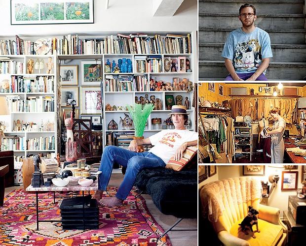 À esq., o designer americano Ford Wheeler em sua casa em Nova York. À esq., o fotógrafo Todd Selby, a estilista australiana Karlee Slater em sua loja e o canto de leitura da fotógrafa de moda Jamie Isaia (Foto: Todd Selby)