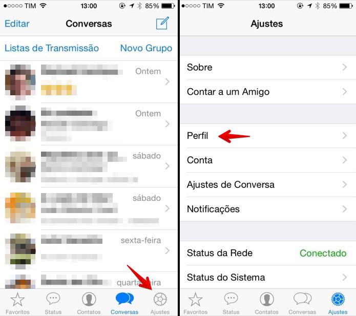 Acessando configurações do WhatsApp (Foto: Reprodução/Helito Bijora)