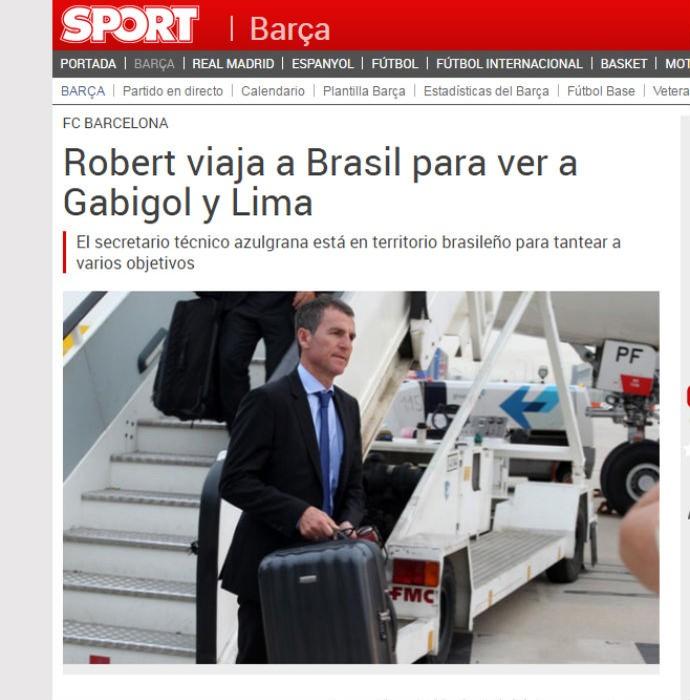 Jornal Sport destaca presença de diretor do Barcelona no Brasil para ver Gabigol e Lucas Lima (Foto: reprodução)