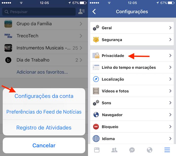 Acesso para as configurações de privacidade do Facebook para iPhone (Foto: Reprodução/Marvin Costa)