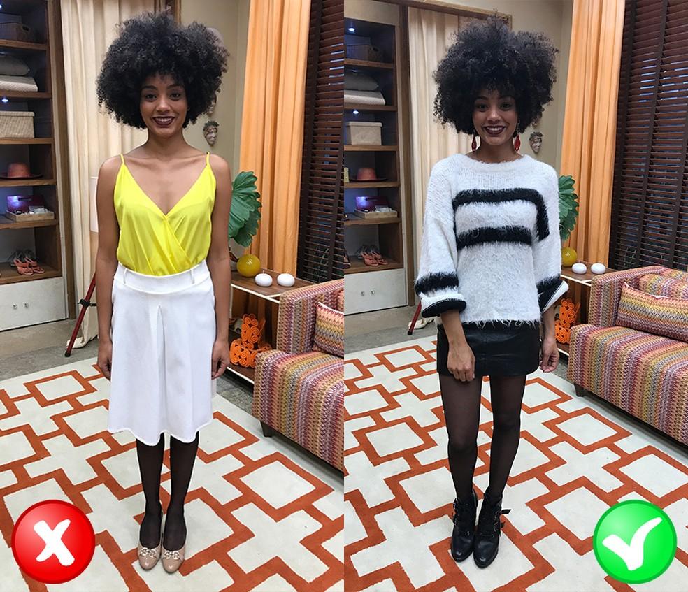 Looks com meia preta fina (Foto: TV Globo)