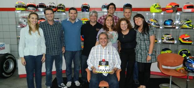 Reginaldo Leme e a equipe do 'Linha de Chegada' (Foto: Erica Hideshima/Sportv.com)