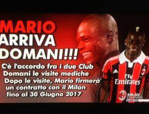 Mario Balotelli apresentado no Milan (Foto: Reprodução)
