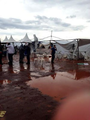 Em razão dos estragos provocados pelo temporal, os organizadores decidiram cancelar o evento (Foto: Claudia Gaigher/TV Morena)