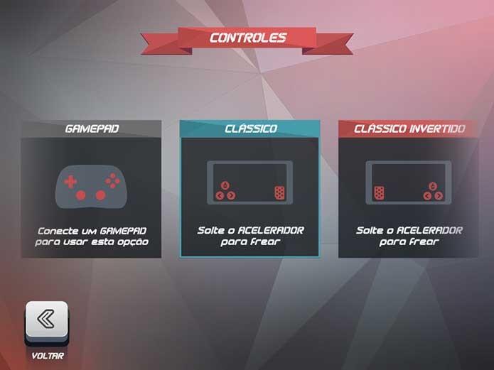 Horizon Chase: selecione o controle adequado (Foto: Reprodução/Felipe Vinha)