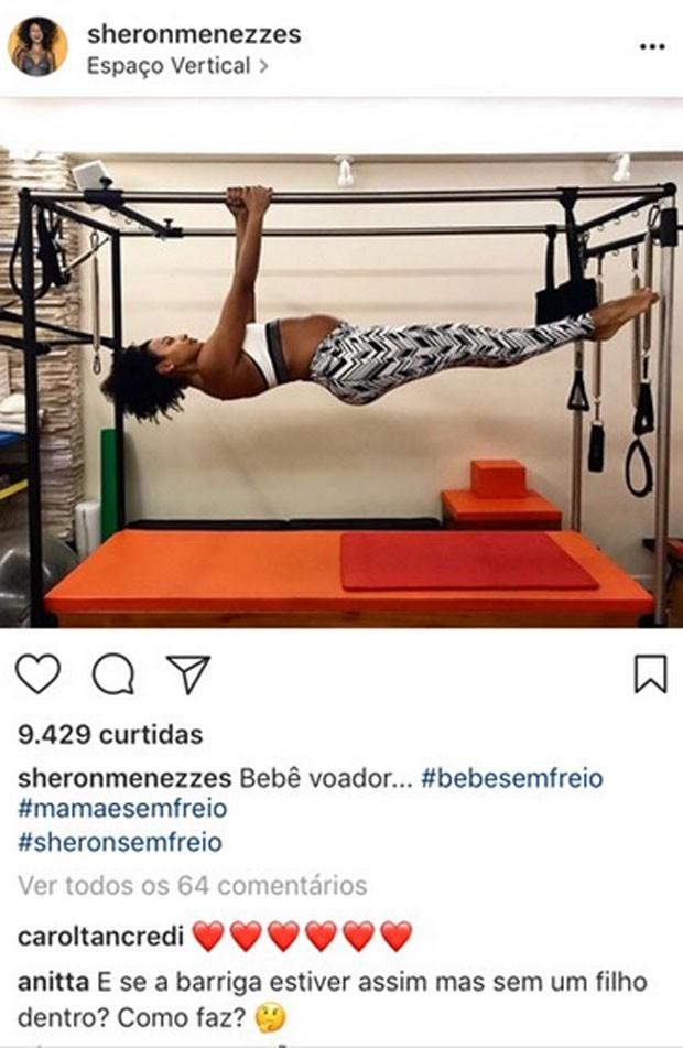 Anitta comenta foto de Sheron Menezzes (Foto: Reprodução)