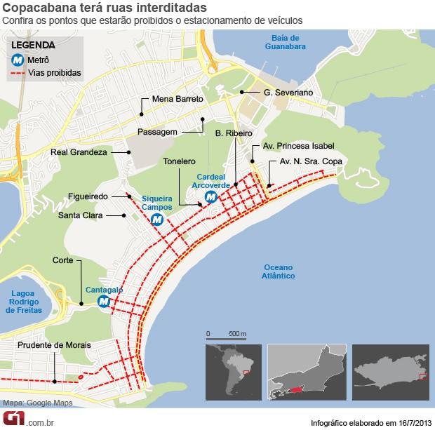 Estacionamento em Copacabana para a JMJ (Foto: Editoria de Arte/ G1)