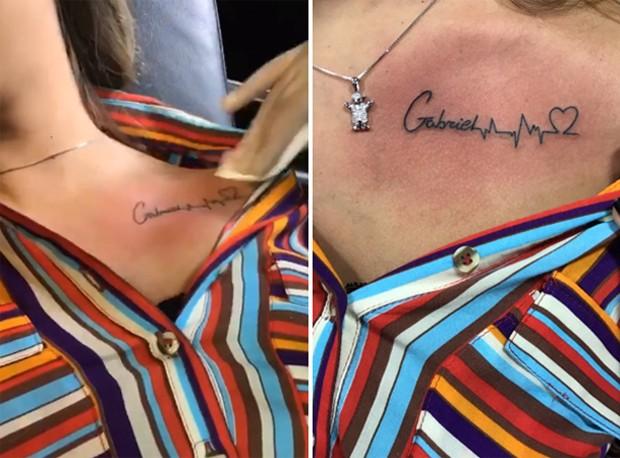 Andressa Suita tatua o nome do filho (Foto: Reprodução/Instagram)