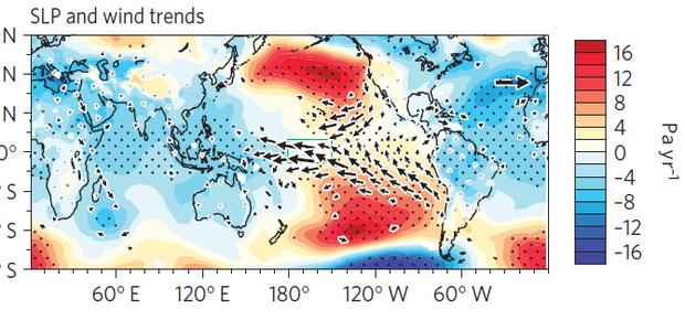 Mapa dos ventos que sopram o calor para o Pacífico (Foto: Divulgação)