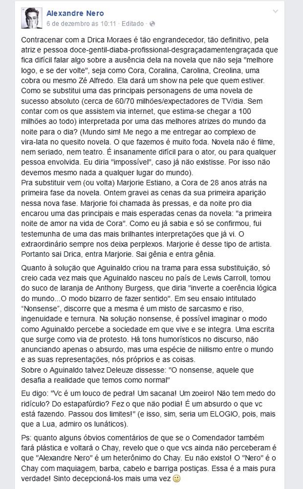 Alexandre Nero homenageia Drica Moraes e Marjorie Estiano em sua página em rede social (Foto: Reprodução)