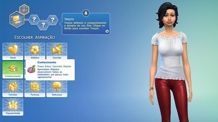 Os traços e aspirações também estão de volta em The Sims 4 (Foto: Reprodução/Tais Carvalho)