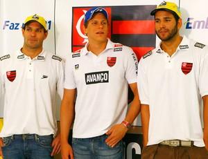 Henrique Barbosa, César Cielo e Nicholas Santos, natação Flamengo (Foto: Globoesporte.com)