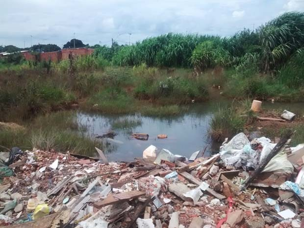 Nascente de córrego está sendo aterrado com lixo para construção de barracos (Foto: Isabella Calzolari/G1)