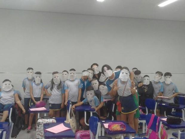 Alunos e professores começaram a usar máscaras em escola de Gurupi (Foto: Colégio Adventista/Divulgação)