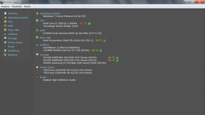 Com o Windows carregado, execute o Speccy e visualize o status geral das partes de seu computador (Foto: Reprodução/Daniel Ribeiro)