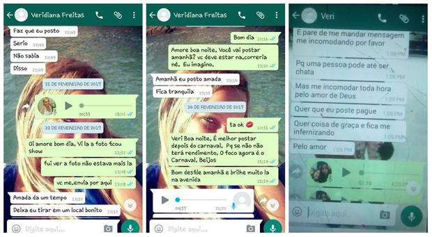 Troca de mensagens entre Veridiana Freitas e empresária (Foto: Reprodução/reprodução)