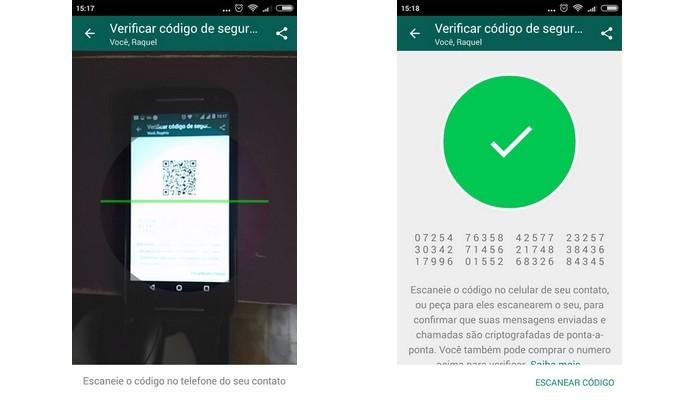 Confirmação do código de segurança do WhatsApp via código QR (Foto: Reprodução/Raquel Freire)