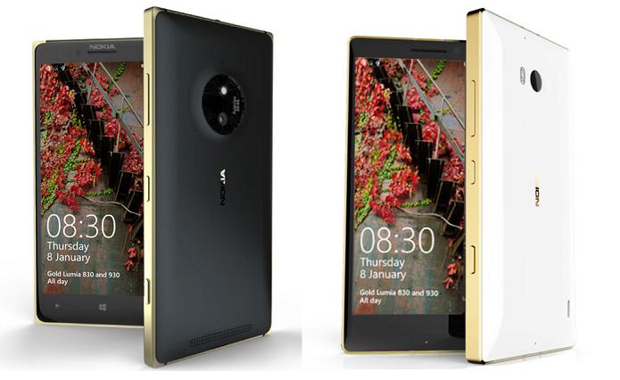 Lumias 830 e 930 ganharam versões com detalhes em dourado (Foto: Divulgação)