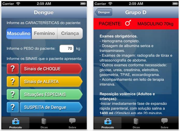 Ele traz os procedimentos de diagnóstico e tratamento da dengue (Foto: Divulgação/Google Play)