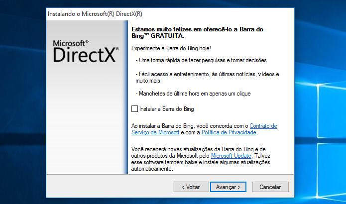 Selecione se deseja instalar a barra de buscas do Bing (Foto: Reprodução/Helito Bijora)