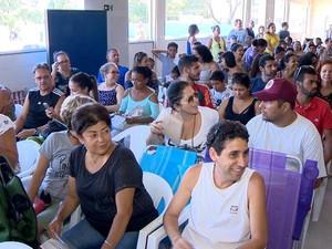Mutirão de vacinação contra febre amarela em Vitória, no último sábado (4) (Foto: Reprodução/ TV Gazeta)