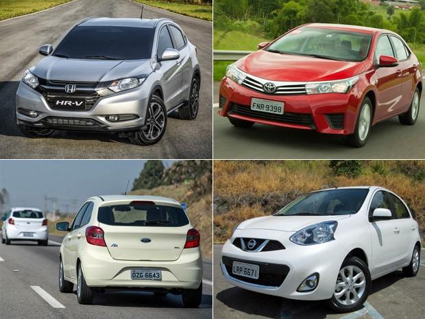 Honda HR-V, Toyota Corolla, Ford Ka e Nissan March ajudaram no desempenho das marcas no 1º semestre de 2015 (Foto: Divulgação/G1)