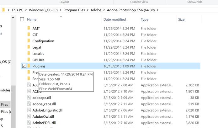 Plugins para abrir WebP no Photoshop deve ser colados dentro de pasta do aplicativo da Adobe  (Foto: Reprodução/Elson Souza)